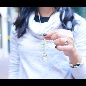 Swarovski Crystal Fish Bone Silver Long Necklace